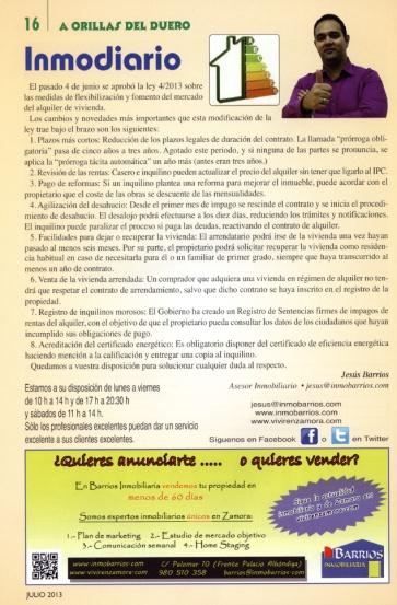 """Artículo del mes de Julio en la revista """"A Orillas del Duero"""""""
