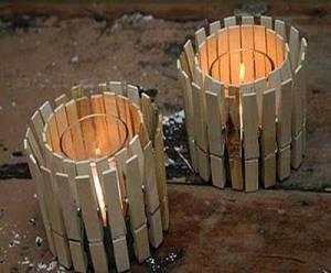 Portavelas realizado con pinzas