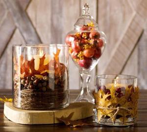 Frutos de otoño en un centro de mesa