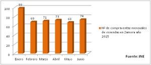 Estadistica viviendas vendidas en Zamora  2015 INE